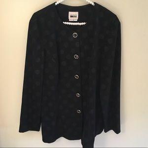Vintage Leslie Fay blk polka dot blazer jacket 16